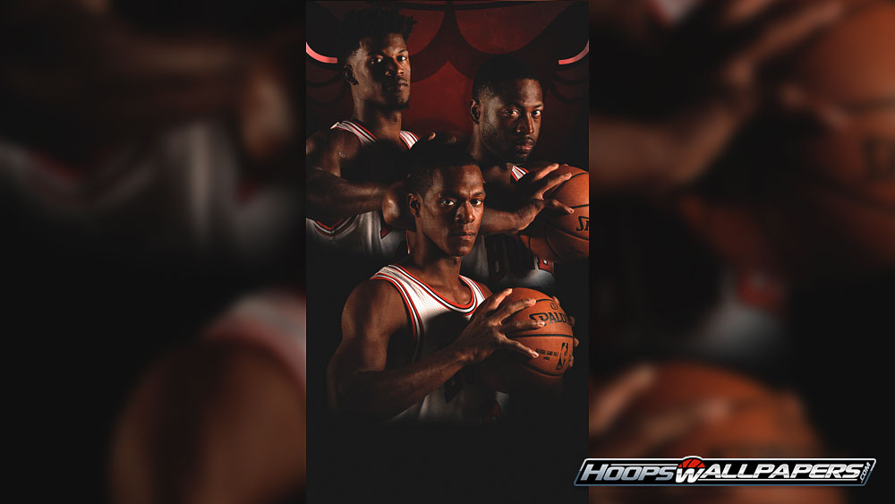 Hoopswallpapers get the latest hd and mobile nba wallpapers dwyane wade rajon rondo and jimmy butler 2016 2017 chicago bulls wallpaper voltagebd Choice Image